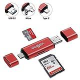 SD Card Reader, VOGEK 3-in-1 USB 3.0 / USB C/Micro USB Card...