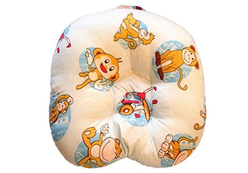 Baby Lounge Lagerungskissen 55 x 55 x 20 cm Liege-Kissen Nestchen Kopf-Kissen Schlaf-Kissen Erstausstattung Nackenrolle (Affe)