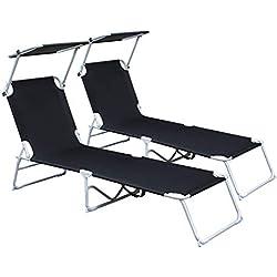 Hengda Chaise Longue Pliante Bain de Soleil 189 x 55 x 27 cm, Transat Pliable avec Parasol Pare Soleil, Dossier réglable 5 Positions, 2X Noir