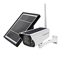 YUNSYE Solar Outdoor 4G Camera SIM Card 1080P Security IP Camera Metal Shell Built-in 64G Card Solar Wireless Surveillance,Rechargeable Battery, Two-Way Audio
