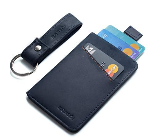 MONSOI® Tarjetero Piel RFID para hasta 12 Tarjetas   Billetera Fina   Cartera Pequeña para Hombres y Mujeres   El Slim Wallet