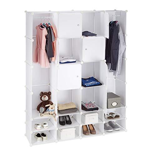 Relaxdays 10021976_49 armadio guardaroba componibile, 20 scomparti, sistema a incastro, plastica, 180x146,3 cm, bianco