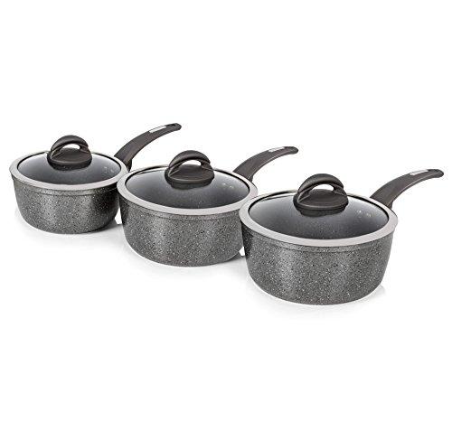Tower Cerastone Forged Saucepan Set with Easy Clean Non-Stick Ceramic Coating, Aluminium, Graphite, 3 Piece