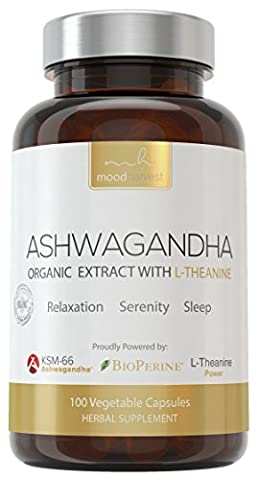 KSM-66 Ashwagandha (800mg) & L-Theanine (200mg) & Bioperine (10mg) Per Serving | Powerful Herbal Supplement with Scientific Dosages of Three Premium Mood Enhancing Ingredients. Clinical Strength for Stress Relief, Sleep Aid & Anti-Anxiety Support. 100 Capsules - by Mood