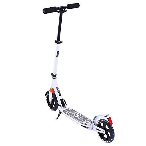 Yosoo Monopattino Scooter per Adulti e adolescenti,Monopattino kickboard 2 Ruote, pieghevole, facile da riporre (Bianco)