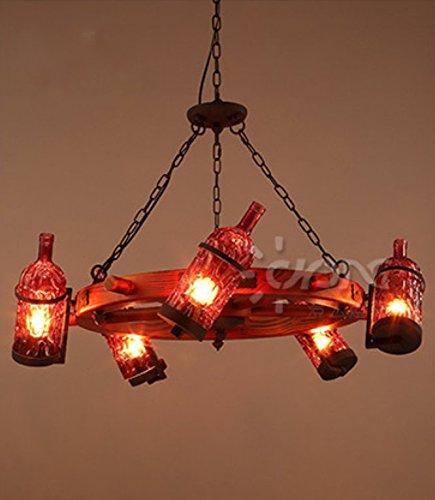 Barra rotonda retrò creativo e lampadario di bottiglia di vino ristorante ,Vino rosso