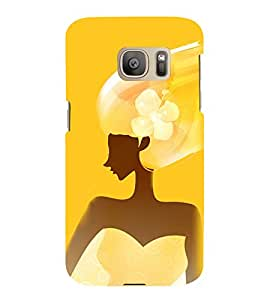Fuson Premium Back Case Cover Girl in yellow With Multi Background Degined For Samsung Galaxy S7::Samsung Galaxy S7