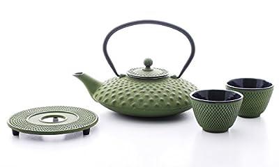 Bredemeijer Jing g002gr Théière asiatique en fonte 1,25L Dimple Structure Vert. En fonte, 2tasses à thé