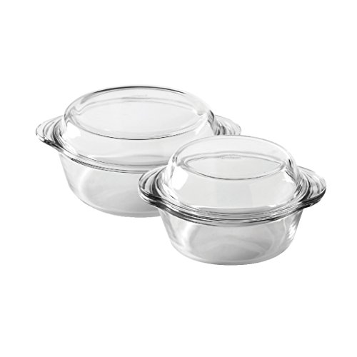 Ravenhead Glass Forum Round Casserole Dishes with Lid, Set of 2