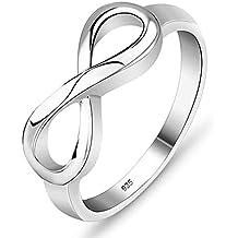 bc2090113654 Outtybrave - Anillo de Plata de Ley 925 con símbolo de Amor Infinito para  Mujer 10