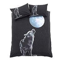 Aviator London Duvet Sets, 3D Animal Print, King, Leopard (Moonlight Wolf, Single)