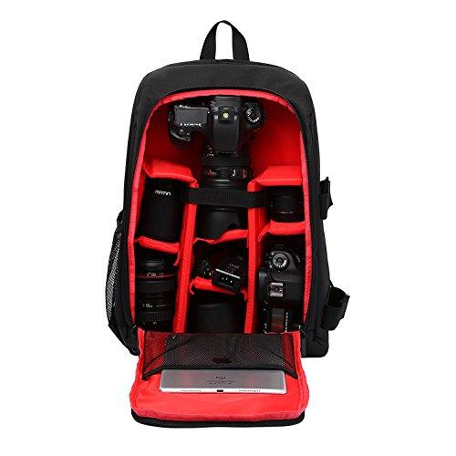 Sac à Dos Appareil Photo, Pbreack Sac pour caméra reflex numérique SLR Canon, Nikon, Sony, Pentax, Fujifilm, Panasonic, Leica et plus (rouge)
