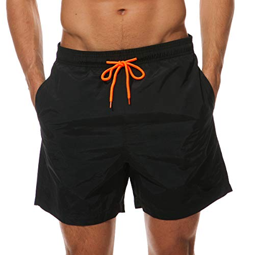 Neusky Herren Beachwear Badeshorts Badehose Schwimmshorts (Schwarz, XXL)