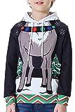 BesserBay Weihnachtspullover Kinder Jungen Kinder Weihnachten Kapuzenpullover Unisex Langarm Sweatshirt Kapuzenjacke Oberteil 10 Jahre