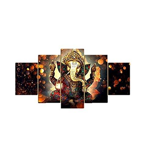 Printelligent Ganesha Split Painting / 5 Frames / Wall Decor,10 X 20...