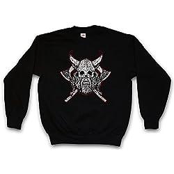 Viking Skull VII Sudadera para Hombre Sweatshirt Pullover - Hugin and Munin Odhins Ravens Boat Dragon Ship Vikingo Drakkar Barco Largo Tamaños S - 3XL