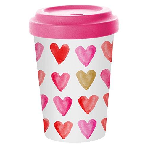 PPD Aquarell Hearts Gold Bamboo Coffee-To-Go Becher, Kaffeebecher, Pappbecher, Trinkbecher,...