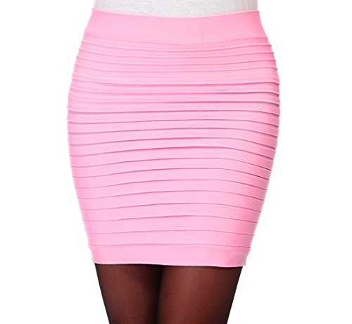 Minetom Damen Hohe taille Kurz Rock Business Pencil Kleid Stretch Bleistiftrock Knielang Mini Skirt Pink One size (Rosa Pencil-skirt)
