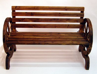 Garden Furniture Wooden Wagon Wheel Style Garden Bench