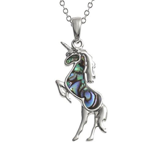 Kiara Jewellery Collar con colgante de unicornio incrustado con concha de paua de color azul verde natural en cadena de 45 cm de rastro. No se deslustra, chapado en rodio, color plateado.