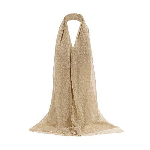 cinnamou Damen Elegant Seidenschal,Seide Halstuch Stola Schal für Kleider in 8 Farben,Einfarbig gold plissierter Schal Damen Schal Long Scarf