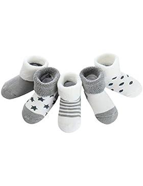 mxdmai 5 Paar Warme Winter Baby Socken Weiche Neugeborene Dicke Socken Exquisite Baumwollsocken für Herbst und...