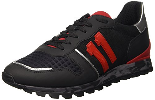 Bikkembergs Numb-Er 650 Shoe M Leather/Lycra, Scarpe Low-Top Uomo, Nero (Black/Red), 43 EU