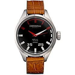 Chotovelli Pilot Men's Watch Automotive Analogue dial Brown Croco leather Strap 54.01