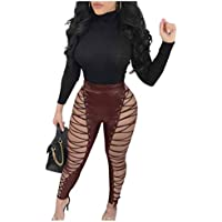 GAOWF Pantalones De Imitación De Cuero Para Mujer Pantalones De Cintura Alta Para Club Nocturno,Red,M