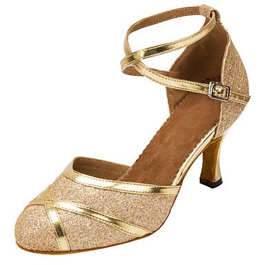 Scarpe da ballo-Personalizzabile-Da donna-Balli latino-americani / Moderno-Tacco su misura-Finta pelle / Brillantini-Nero / Bianco / Black