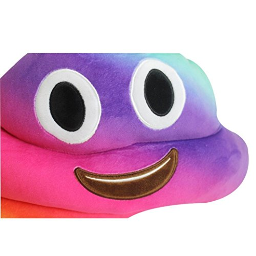 Smile Emoticon Pillow Pink Poop Smile Styles Emoticon Yellow Round Cushion Pillow Emoticon Stuffed Plush Soft Face Doll Toy Decor. 100% Satisfaction or Money Back Guarantee. (Smile Poo Rainbow)
