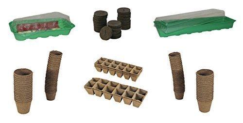 Minigewächshäuser / Quelltöpfe / Anzuchttöpfe / Quelltabletten in verschiedenen Sets (Gewächshaus groß mit 24 Quelltöpfen quadratisch)