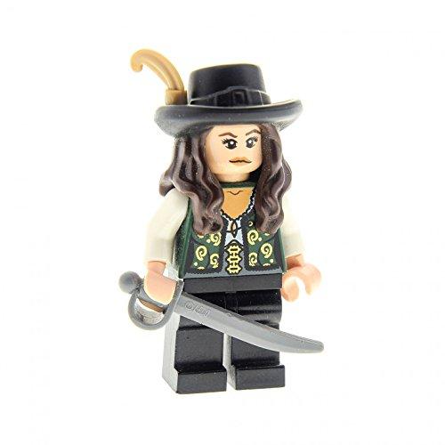 1 x Lego System Figur Frau Pirat Fluch der Karibik Pirates of the Caribbean Angelica Torso dunkel grün Hut Schwert Set 4195 (Angelica Fluch Der Karibik)