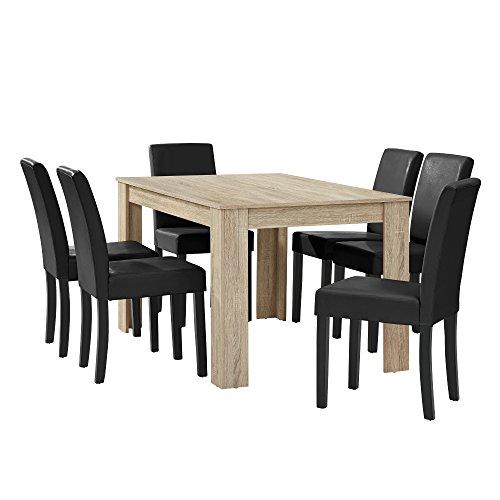 [en.casa] Esstisch Eiche hell mit 6 Stühlen schwarz Kunstleder gepolstert 140x90 Essgruppe Esszimmer