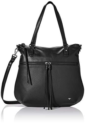TOM TAILOR Shopper Damen, Tanya, (Schwarz), 33.5x30x10 cm, TOM TAILOR Schultertasche, Handtaschen Damen