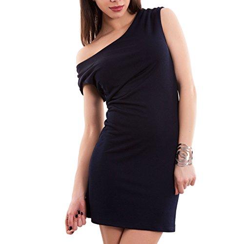 Toocool - Vestito donna miniabito corto tubino abito ancheggio elasticizzato nuovo AS-8216 Blu scuro