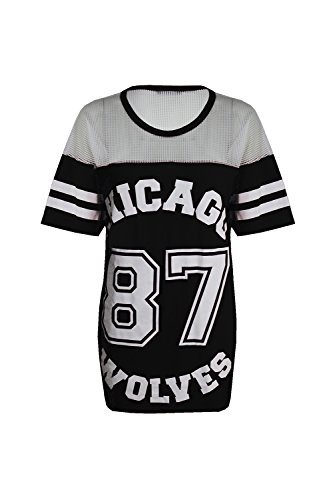Damen T-Shirt Chicago 87 Wolves Lockeres Übergroßes Baseball T-Shirt Kleid Langes Top, Black - New Stretchy University Chicago Hockey, S/M (EU 36/38) -