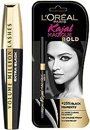 L'Oreal Paris Volume Million Lashes Mascara, Washable, Black, 10.7ml And L'Oreal Paris Kajal Magique,