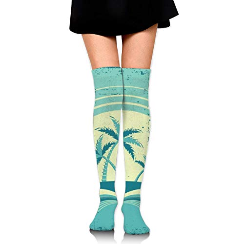 Sea Horizon with Tropical Island and Palms Customized Long Full Length Socks for Running, Sports, Travel, Cycling, Traveling 25.6 Inchs Black (Elite Basketball Socks Youth)