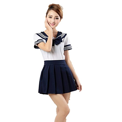 Kostüm School Girl Cute - Missley Cute School Uniform Kleid Mädchen Outfit Sailor Uniform Cosplay Kostüm ,Dark Blau, Small