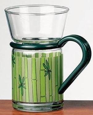 Lot de 6 mugs à café ou thé en verre - imprimé bambou vert