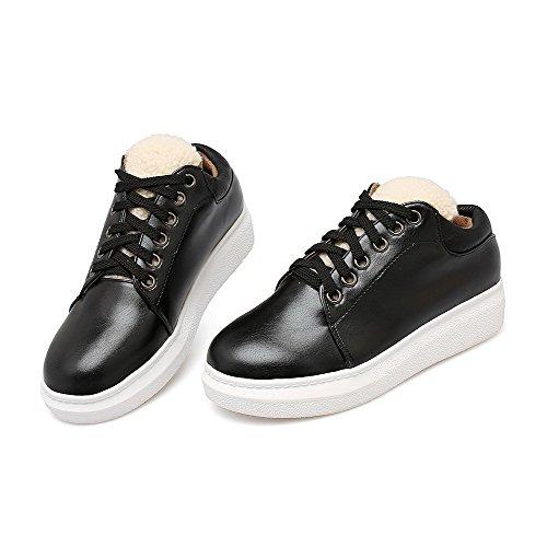 AllhqFashion Damen Gemischte Farbe Pu Leder Rund Zehe Reißverschluss Pumps Schuhe Schwarz