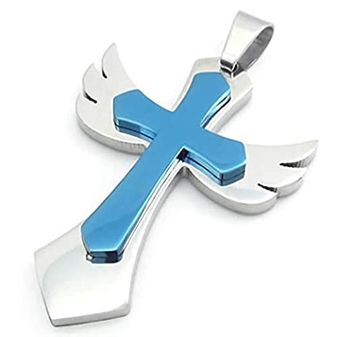 Bishilin Stainless Steel Silver Blue Angel Wing Cross Unisex's Pendant Necklaces 22 Inch for Mens with Free Engraved