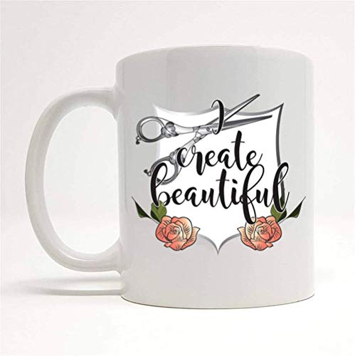 WYYCLD - I Create Beautiful Mug, Gift for Hairdresser, Gift for Hairstylist, Hair Salon Gift Ideas, Hair Salon Gifts, 11oz Ceramic Coffee Mug, Unique Gift 12 Oz White Foam Cups