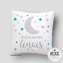 Cojín regalo bebe dulces sueños luna. 40x40 cm, incluye relleno. Elige el color