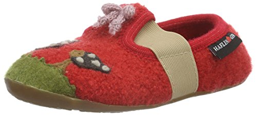 Haflinger Mädchen Mushroom Flache Hausschuhe Rot (Rubin 11)