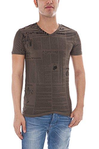 Maglia t-shirt scollo a v uomo john galliano maniche corte v neck men short sleeves (46, verde)