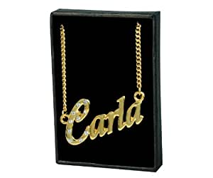"""Nom Colliers """"CARLA"""" – Collier personnalisé Plaqué or 18 carats, un cadeau pour Noël, la St Valentin ou la Fête des Mères, vendu avec sac et boitier cadeaux."""