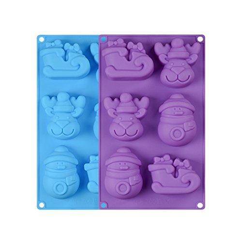 (FantasyDay® 2 Stück Premium Antihafteigenschaft Silikon Backform / Muffinform für Muffins, Cupcakes, Kuchen, Pudding, Eiswürfel und Gelee - Weihnachten Rentier Form Brotbackform für eindrucksvolle Kreationen, hochwertige Silikon-Kuchenform)