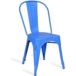 Silla Tolix Style Vintage - Azul - Inspiración Industrial - 45 cm x 46 cm x 85 cm - SANTANI MOBILI